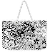 Butterfly And Flowers, Doodles Weekender Tote Bag