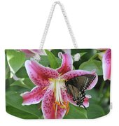 Butterfly And Lilly Weekender Tote Bag