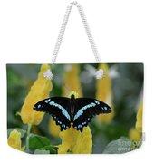 Butterfly Blue Striped Weekender Tote Bag