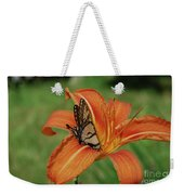 Butterfly On A Blooming Orange Daylily Flower Blossom Weekender Tote Bag