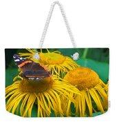 Butterfly On Chrysanthemum Flowers Weekender Tote Bag