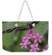 Butterfly On Pink Flowers Weekender Tote Bag