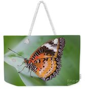 Butterfly On The Edge Of Leaf Weekender Tote Bag by John Wadleigh