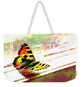 Butterfly On The Window Frame Watercolor Weekender Tote Bag