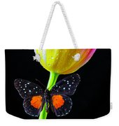 Butterfly On Yellow Pink Tulip Weekender Tote Bag