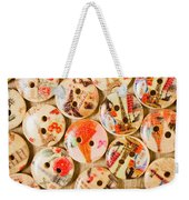 Buttoning A Background Weekender Tote Bag