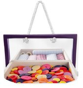 Buttons And Textile Fabrics In A Sewing Box Weekender Tote Bag