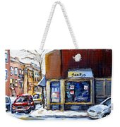 Buy Original Montreal Paintings Beauty's Winter Scenes For Sale Achetez Petits Formats Tableaux  Weekender Tote Bag