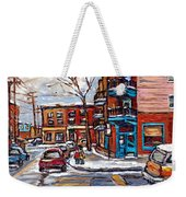 Buy Original Wilensky Montreal Paintings For Sale Achetez Petits Formats Scenes De Rue Street Scenes Weekender Tote Bag