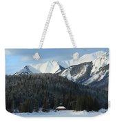 Cabin On Frozen Lake Weekender Tote Bag