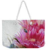 Cactus Flower And A Busy Bee Weekender Tote Bag