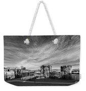 Caerphilly Castle Panorama Mono Weekender Tote Bag