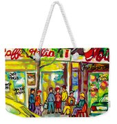 Caffe Italia And Milano Charcuterie Montreal Watercolor Streetscenes Little Italy Paintings Cspandau Weekender Tote Bag