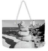 Cairn On Shore, Ft. Williams Park, Cape Elizabeth, Maine  #30063 Weekender Tote Bag by John Bald