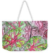 Caladiums Tropical Plant Art Weekender Tote Bag