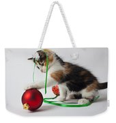 Calico Kitten And Christmas Ornaments Weekender Tote Bag