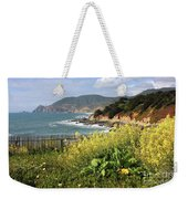 California Coast With Wildflowers And Fence Weekender Tote Bag