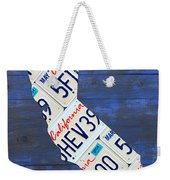 California License Plate Map On Blue Weekender Tote Bag by Design Turnpike