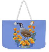 California Quail And Golden Poppies Weekender Tote Bag by Crista Forest