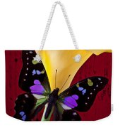 Calla Lily And Purple Black Butterfly Weekender Tote Bag by Garry Gay