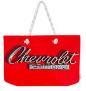 Camaro Logo On Cherry Red Car Weekender Tote Bag