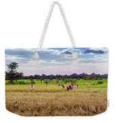 Cambodia Field Workers Harvesting Rice Weekender Tote Bag
