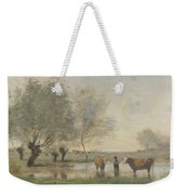Camille Corot   Cows In A Marshy Landscape Weekender Tote Bag