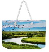 Canada Geese Entering Idaho's Teton Valley Weekender Tote Bag