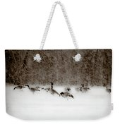 Canada Geese Feeding In Winter Weekender Tote Bag