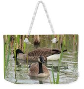 Canada Geese In Pond Weekender Tote Bag