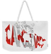 Canada Typographic Map Flag Weekender Tote Bag