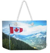 Canadian Flag Over Banff Weekender Tote Bag