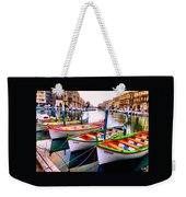 Canal Boats On A Canal In Venice L A S Weekender Tote Bag