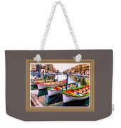 Canal Boats On A Canal In Venice L A S With Decorative Ornate Printed Frame.  Weekender Tote Bag