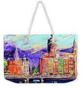 Canal Of Amsterdam, Storm Is Comming Weekender Tote Bag