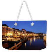 Canal Thorbeckegracht In Zwolle At Dusk With Boats Weekender Tote Bag