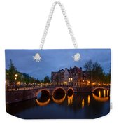 Canals Of Amsterdam At Night Weekender Tote Bag