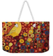Canary In Red Weekender Tote Bag