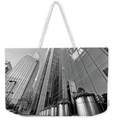 Canary Wharf Financial District In Black And White Weekender Tote Bag