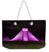 Cancun Mexico - Chichen Itza - Temple Of Kukulcan-el Castillo Pyramid Night Lights 2 Weekender Tote Bag