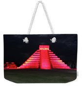 Cancun Mexico - Chichen Itza - Temple Of Kukulcan-el Castillo Pyramid Night Lights 4 Weekender Tote Bag