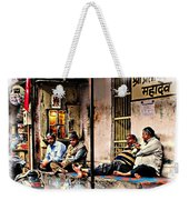 Candid Bored Yawn Pj Exotic Travel Blue City Streets India Rajasthan 1a Weekender Tote Bag