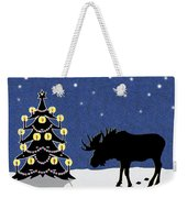 Candlelit Christmas Tree And Moose In The Snow Weekender Tote Bag