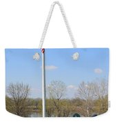 Cannon And Flagpole Overlooking River Weekender Tote Bag