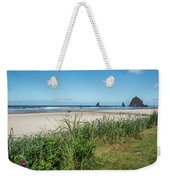 Cannon Beach And Purple Bloom Weekender Tote Bag