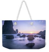Cannon Beach Rocks Sunset Weekender Tote Bag