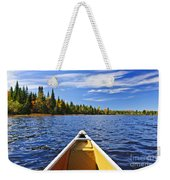 Canoe Bow On Lake Weekender Tote Bag by Elena Elisseeva