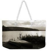 Canoe On A Shore Of A Lake At Dawn Weekender Tote Bag