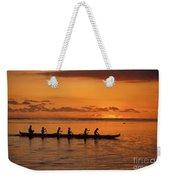 Canoe Paddlers Silhouette Weekender Tote Bag