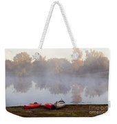 Canoes By A Foggy Lake In Autumn Weekender Tote Bag